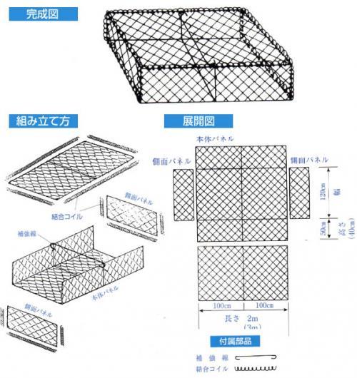 パネル式角型じゃかご 50cm×120cm×2.0m(1本)