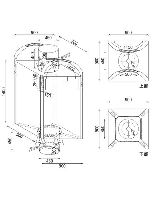 米・麦・農業用Eタイプ角型 食品衛生法適合 フレキシブルコンテナバッグ (10枚)