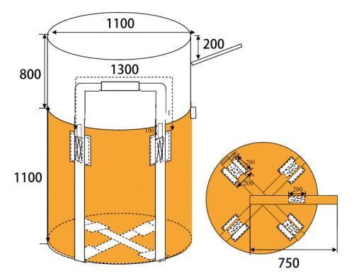 【決算セール】フレキシブルコンテナバッグA バージン材  1t(反転あり・UVあり) 10枚