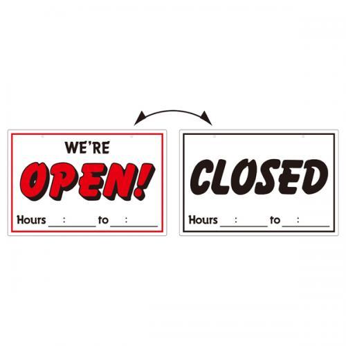 イラスト標識 オープンクローズ300×450×1mm(1枚)